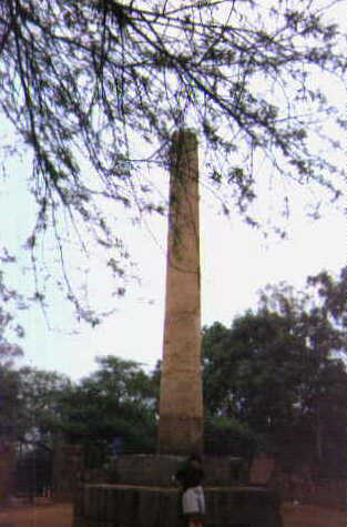 The Pillar removed from Meerut by Firoz Shah Tughlaq in 1306 A.D. Now near Bara Hindu Rao.
