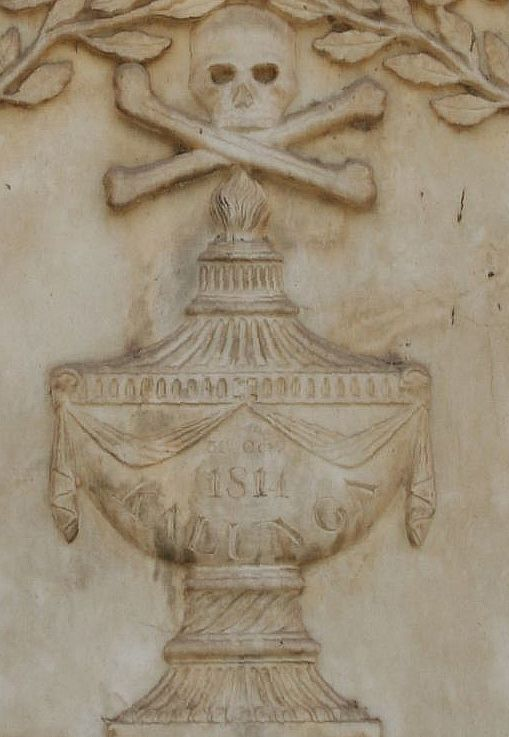 A section of the gravestone of Gillespie's grave